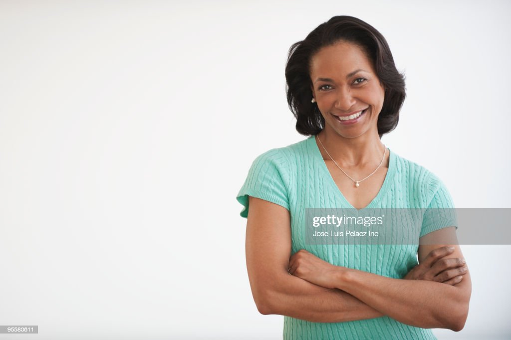 Mixed race woman smiling : Stock Photo
