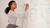 Mixed race woman writing on whiteboard