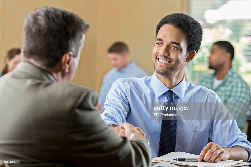 Mixed race young adult at a job interview