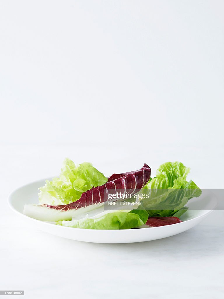 Mixed salad leaves on white plate : Stock Photo