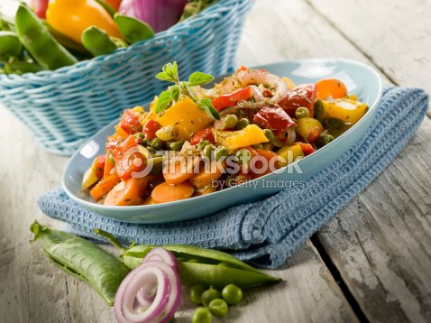 mixed sauteed vegetables : Stock Photo