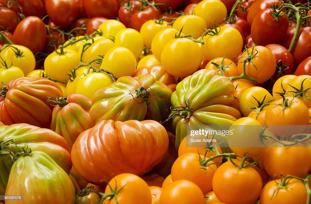 Mixed tomatoes at produce market