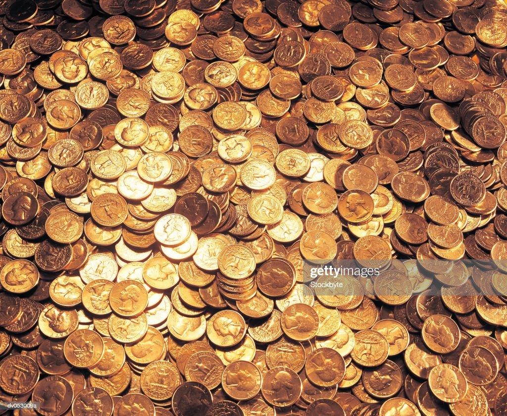 Mixed US coinage : Stock Photo