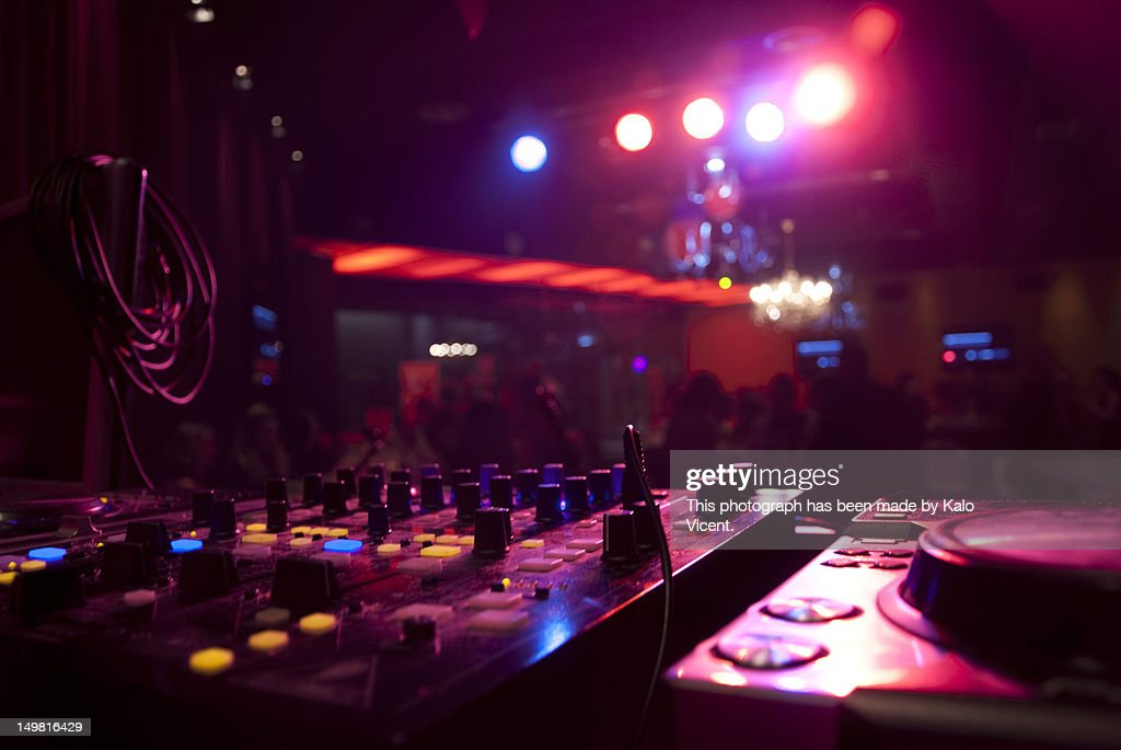Mixing desk in dj party club : Stock Photo