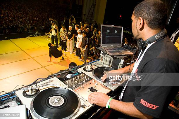 DJ mixing for a dancer performing on stage UK BBoy championships 06