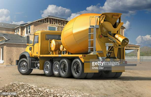 Mixing truck at construction site