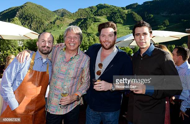 Mixologist Jim Meehan chef Dean Fearing chef Scott Conant and chef Cedric Vongerichten celebrate The Centurion Lounge by American Express during Food...
