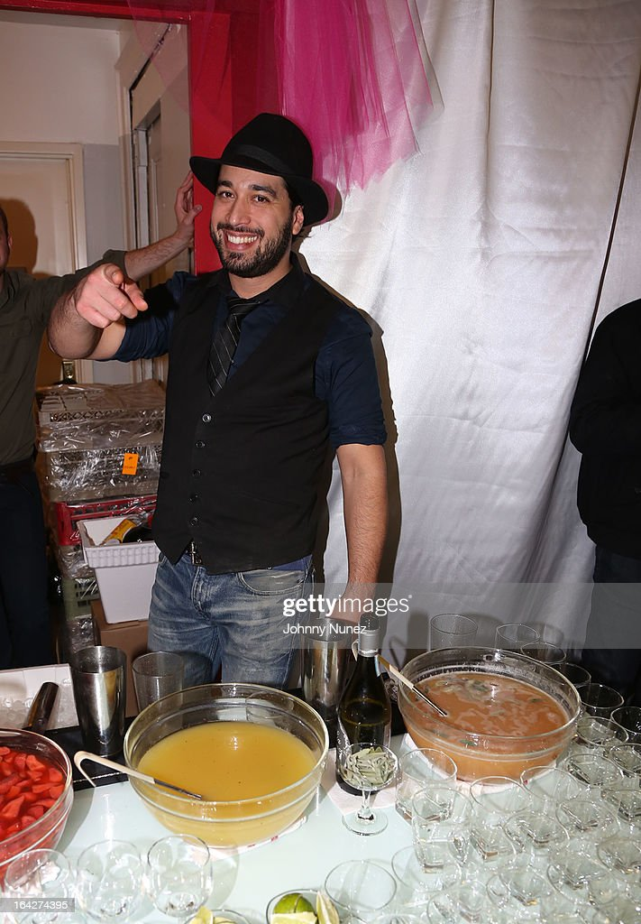 Mixologist Orson Salicetti attends a listening event at Darnaa Recording Studios on March 21, 2013 in New York City.