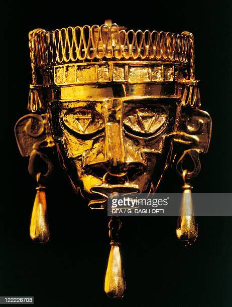 Mixtec civilization Mexico 7th century AD Goldsmith Art Gold mask of God Xipe Totec From tomb n° 7 at the Monte Alban archaeological site