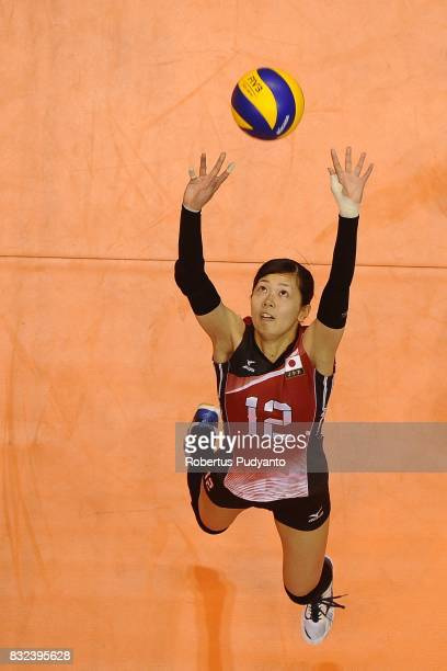 Miya Sato of Japan cotrols the ball during the 19th Asian Senior Women's Volleyball Championship 2017 Semifinal match between Japan and China at...