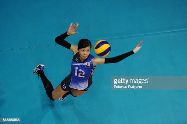 Miya Sato of Japan spikes during the 19th Asian Senior Women's Volleyball Championship 2017 Final match between Thailand and Japan at Alonte Sports...