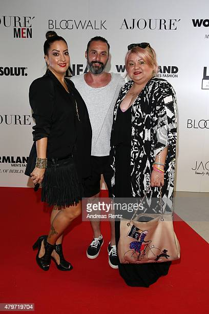 Miyabi Kawai Tobias Bojko and Betty Amrhein attend the AJOURE Berlin Fashion Week Opening Party at LNFA Space Bikini Berlin on July 6 2015 in Berlin...