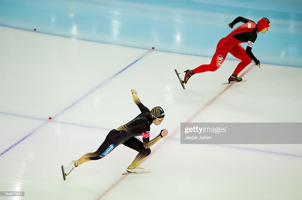 Miyako Sumiyoshi (L) of Japan competes against Hong Zhang of China during the 500m race on day four of the Essent ISU World Single Distances Speed Skating Championships at the Adler Arena Skating Center on March 24, 2013 in Sochi, Russia.