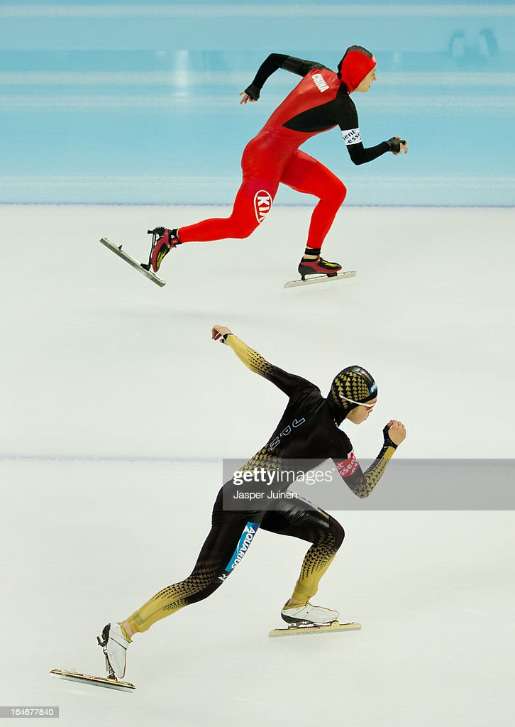 Miyako Sumiyoshi (R) of Japan competes against Hong Zhang of China during the 500m race on day four of the Essent ISU World Single Distances Speed Skating Championships at the Adler Arena Skating Center on March 24, 2013 in Sochi, Russia.