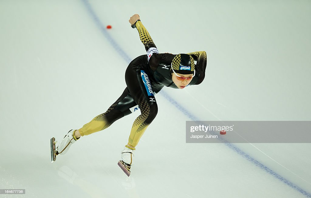 Miyako Sumiyoshi of Japan competes in the 500m race on day four of the Essent ISU World Single Distances Speed Skating Championships at the Adler Arena Skating Center on March 24, 2013 in Sochi, Russia.