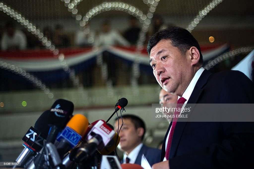 Miyegombiin Enkhbold, chairman of Mongolian People's Party (MPP) speaks to the press in Ulan Bator in the night of June 30, 2016. Mongolians went to the polls across their sprawling, sparsely-populated country on June 29 as it struggles to benefit from its vast natural resources amid disputes over foreign investment and slumping demand from neighbouring China. It took Mongolian nomad Pagvajaviin Shatarbaatar seven days to get to his polling station to vote in in the general election -- accompanied by more than 2,000 sheep, goats and horses. EISELE