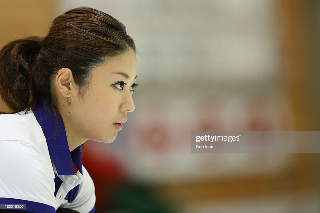 Miyo Ichikawa of Chubu Electric Power Co. looks on during the last day of qualifier for the Curling Japan Qualifying Tournament at Dohgin Curling Stadium on September 14, 2013 in Sapporo, Japan.