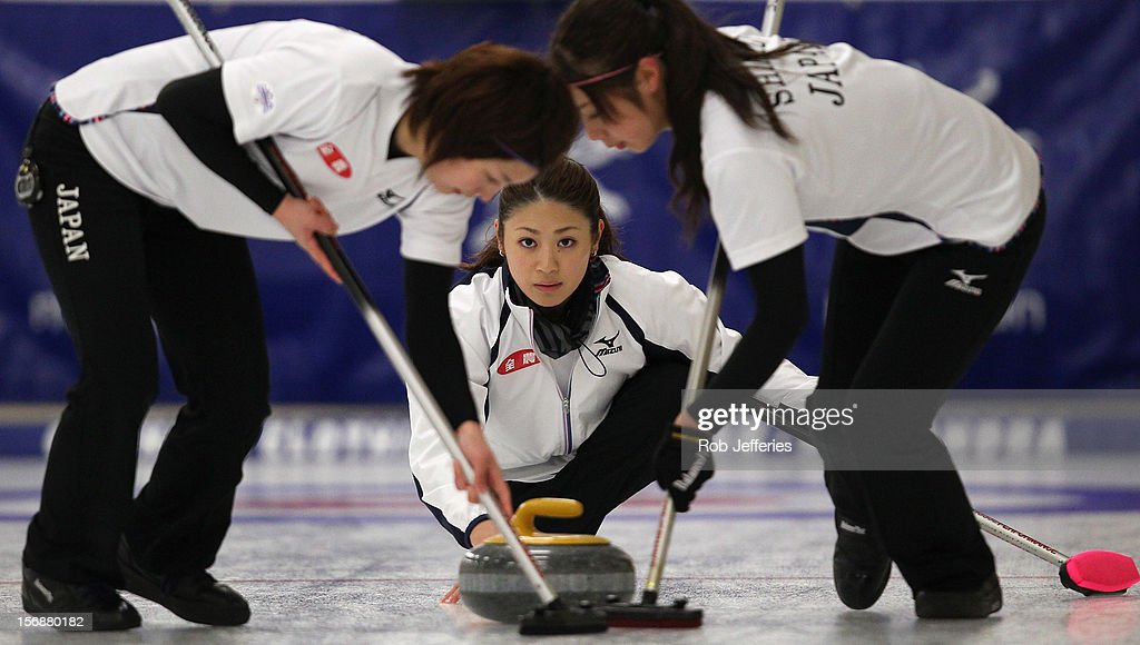 Miyo Ichikawa of Japan delivers her stone during the Pacific Asia 2012 Curling Championship at the Naseby Indoor Curling Arena on November 24, 2012 in Naseby, New Zealand.
