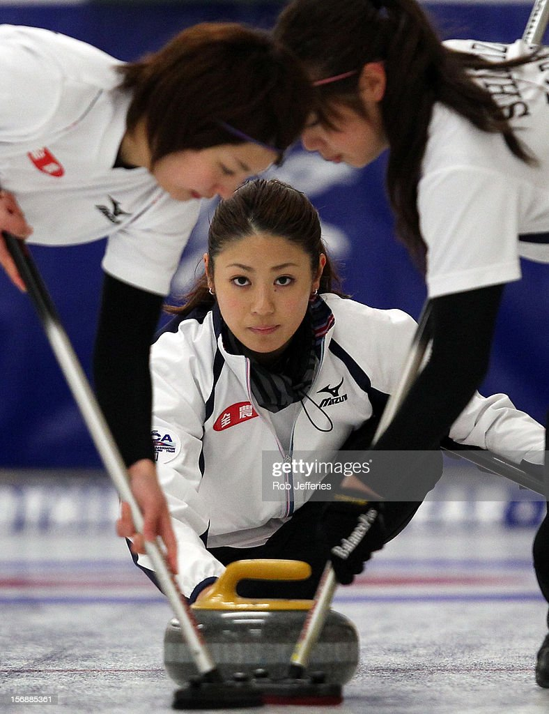 Miyo Ichikawa of Japan during the Pacific Asia 2012 Curling Championship at the Naseby Indoor Curling Arena on November 24, 2012 in Naseby, New Zealand.