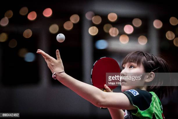 Miyu Kato of Japan competes during Women Single 1 Round at Table Tennis World Championship at Messe Duesseldorf on May 31 2017 in Dusseldorf Germany