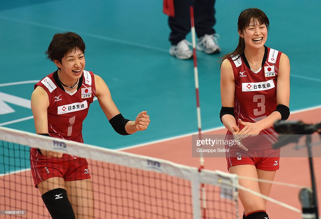 <a gi-track='captionPersonalityLinkClicked' href=/galleries/search?phrase=Miyu+Nagaoka&family=editorial&specificpeople=11310850 ng-click='$event.stopPropagation()'>Miyu Nagaoka</a> and <a gi-track='captionPersonalityLinkClicked' href=/galleries/search?phrase=Saori+Kimura&family=editorial&specificpeople=2151588 ng-click='$event.stopPropagation()'>Saori Kimura</a> of Japan celebrate during the FIVB Women's World Championship pool D match between Cuba and Japan on September 25, 2014 in Bari,Italy.