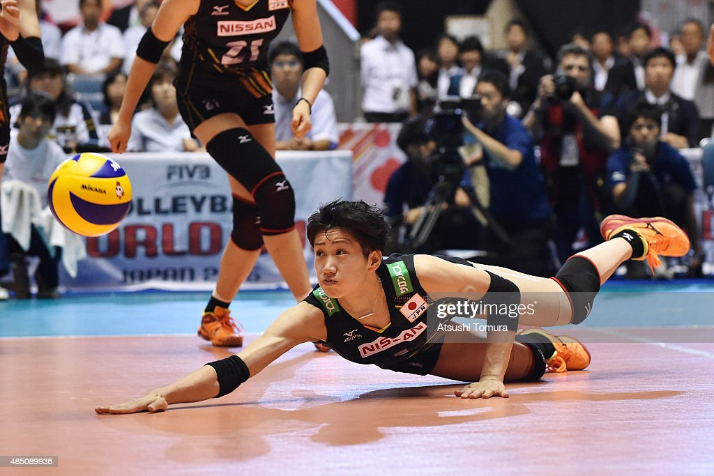 <a gi-track='captionPersonalityLinkClicked' href=/galleries/search?phrase=Miyu+Nagaoka&family=editorial&specificpeople=11310850 ng-click='$event.stopPropagation()'>Miyu Nagaoka</a> of Japan dives to receive the ball in the match between Cuba and Japan during the FIVB Women's Volleyball World Cup Japan 2015 at Yoyogi National Stadium on August 24, 2015 in Tokyo, Japan.