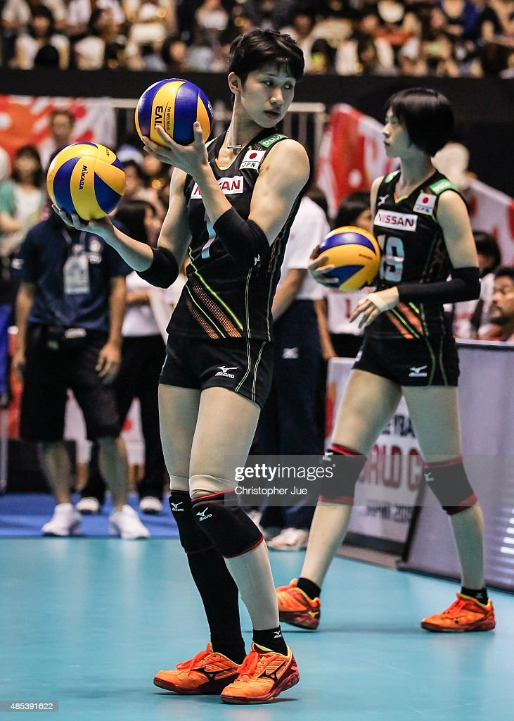 <a gi-track='captionPersonalityLinkClicked' href=/galleries/search?phrase=Miyu+Nagaoka&family=editorial&specificpeople=11310850 ng-click='$event.stopPropagation()'>Miyu Nagaoka</a> of Japan holds volleyballs during a warm up session before the match between Dominican Republic and Japan during the FIVB Women's Volleyball World Cup Japan 2015 at Yoyogi National Stadium on August 27, 2015 in Tokyo, Japan.