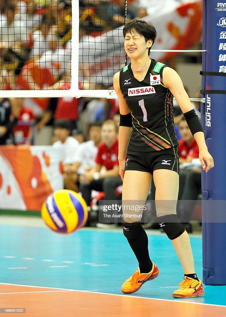 <a gi-track='captionPersonalityLinkClicked' href=/galleries/search?phrase=Miyu+Nagaoka&family=editorial&specificpeople=11310850 ng-click='$event.stopPropagation()'>Miyu Nagaoka</a> of Japan reacts after her spike was blocked in the match between Japan and USA during the FIVB Women's Volleyball World Cup Japan 2015 at Nippon Gaishi Hall on September 5, 2015 in Nagoya, Aichi, Japan.