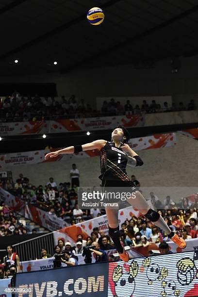 Miyu Nagaoka of Japan serves in the match between Cuba and Japan during the FIVB Women's Volleyball World Cup Japan 2015 at Yoyogi National Stadium...