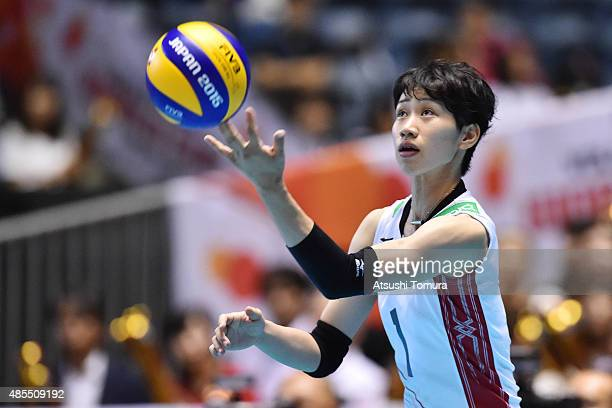 Miyu Nagaoka of Japan serves in the match between Japan and Kenya during the FIVB Women's Volleyball World Cup Japan 2015 at Yoyogi National Stadium...
