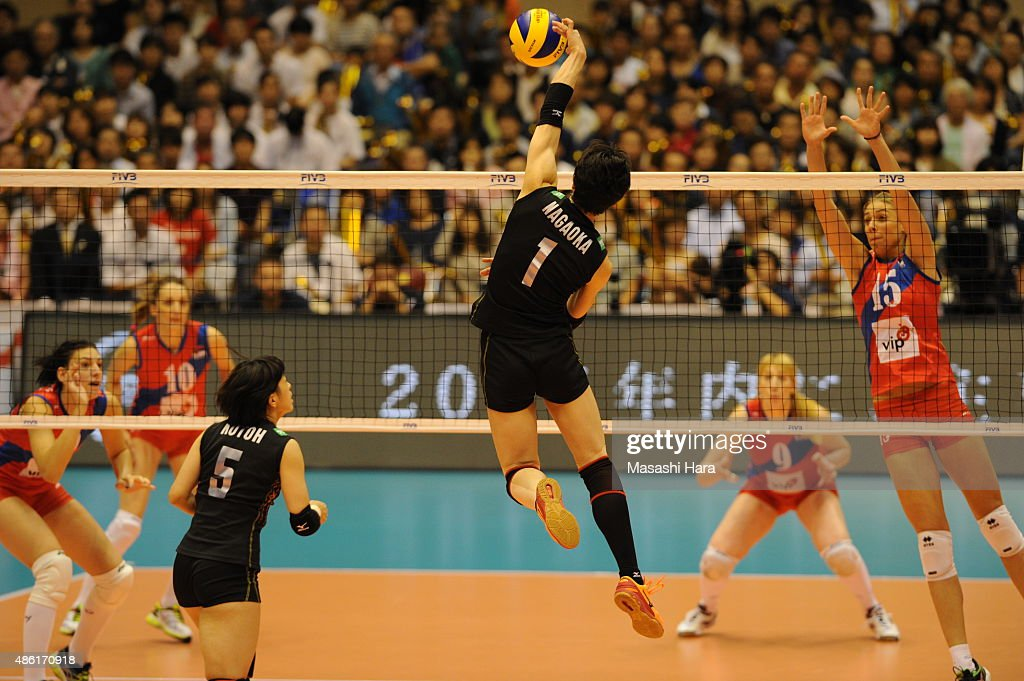 <a gi-track='captionPersonalityLinkClicked' href=/galleries/search?phrase=Miyu+Nagaoka&family=editorial&specificpeople=11310850 ng-click='$event.stopPropagation()'>Miyu Nagaoka</a> of Japan spikes during the match between Japan and Serbia during the FIVB Women's Volleyball World Cup Japan 2015 at Sendai City Gymnasium on September 1, 2015 in Sendai, Japan.