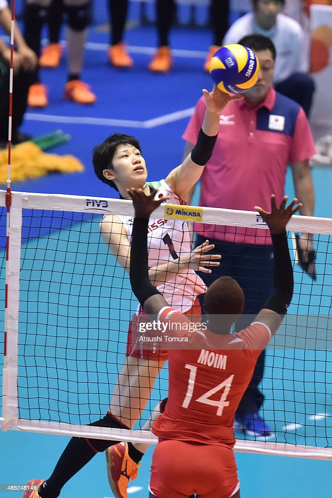 <a gi-track='captionPersonalityLinkClicked' href=/galleries/search?phrase=Miyu+Nagaoka&family=editorial&specificpeople=11310850 ng-click='$event.stopPropagation()'>Miyu Nagaoka</a> of Japan spikes in the match between Japan and Kenya during the FIVB Women's Volleyball World Cup Japan 2015 at Yoyogi National Stadium on August 26, 2015 in Tokyo, Japan.