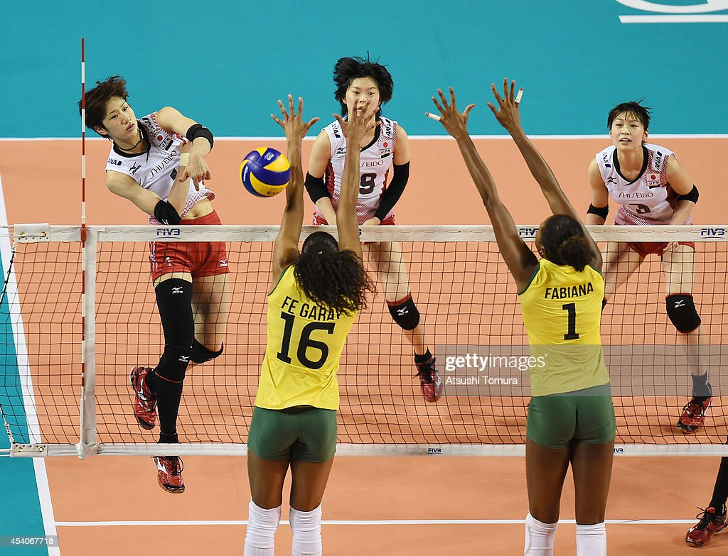 <a gi-track='captionPersonalityLinkClicked' href=/galleries/search?phrase=Miyu+Nagaoka&family=editorial&specificpeople=11310850 ng-click='$event.stopPropagation()'>Miyu Nagaoka</a> of Japan spikes the ball during the FIVB World Grand Prix Final group one match between Brazil and Japan on August 24, 2014 in Tokyo, Japan.