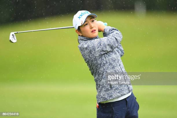 Miyu Shinkai of Japan hits her second shot on the 8th hole during the third round of the Nobuta Group Masters GC Ladies at the Masters Golf Club on...
