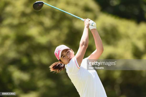 Miyu Shinkai of Japan hits her tee shot on the 12th hole during the second round of the Nichirei Ladies at the on June 17 2017 in Chiba Japan