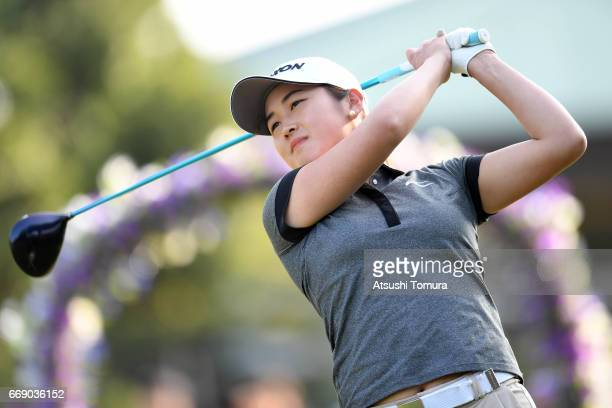 Miyu Shinkai of Japan hits her tee shot on the 1st hole during the final round of the KKT Cup Vantelin Ladies Open at the Kumamoto Airport Country...