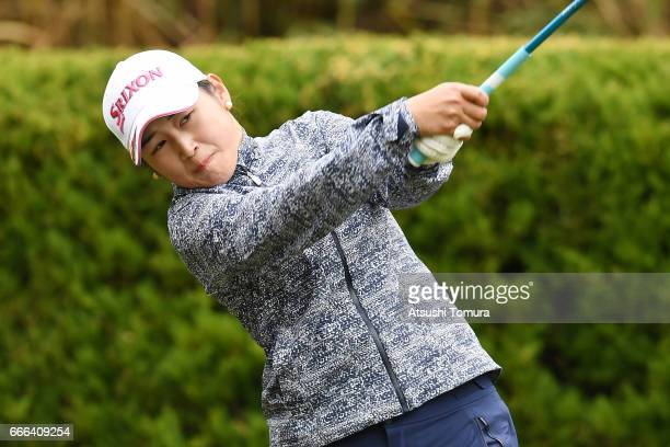 Miyu Shinkai of Japan hits her tee shot on the 2nd hole during the final round of the Studio Alice Open at the Hanayashiki Golf Club Yokawa Course on...