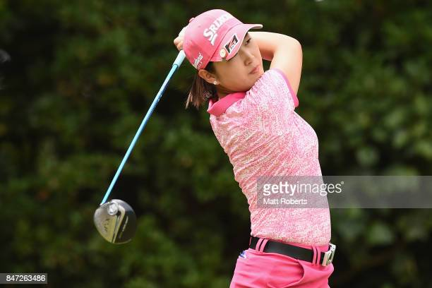 Miyu Shinkai of Japan hits her tee shot on the 2nd hole during the first round of the Munsingwear Ladies Tokai Classic 2017 at the Shin Minami Aichi...