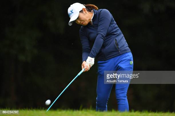 Miyu Shinkai of Japan hits her tee shot on the 2nd hole during the third round of the Nobuta Group Masters GC Ladies at the Masters Golf Club on...