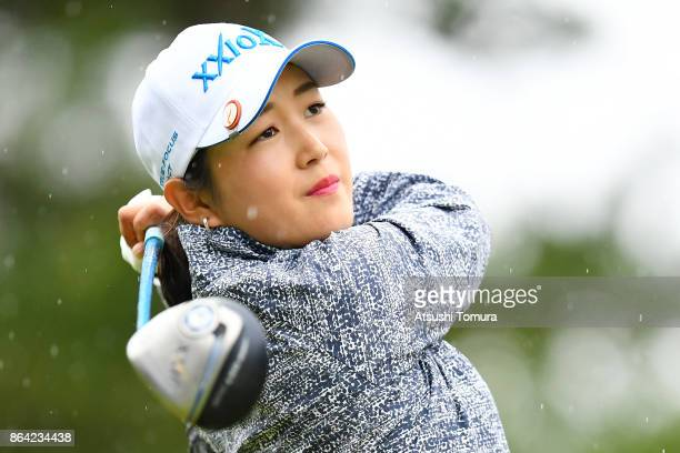 Miyu Shinkai of Japan hits her tee shot on the 9th hole during the third round of the Nobuta Group Masters GC Ladies at the Masters Golf Club on...