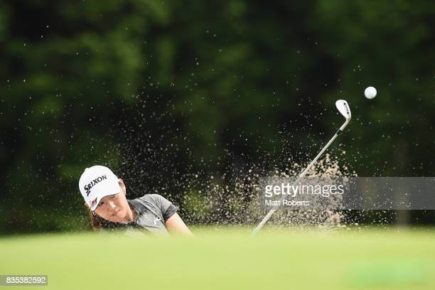 Miyu Shinkai of Japan hits out of the bunker on the 7th hole during the second round of the CAT Ladies Golf Tournament HAKONE JAPAN 2017 at the...