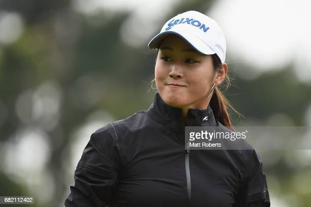 Miyu Shinkai of Japan looks on during the first round of the HokennoMadoguchi Ladies at the Fukuoka Country Club Wajiro Course on May 12 2017 in...