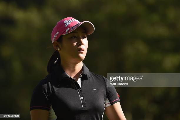 Miyu Shinkai of Japan looks on during the second round of the HokennoMadoguchi Ladies at the Fukuoka Country Club Wajiro Course on May 13 2017 in...