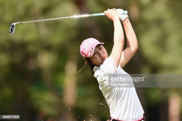 Miyu Shinkai of Japan plays her approach shot on the 16th hole during the second round of the Nichirei Ladies at the on June 17 2017 in Chiba Japan