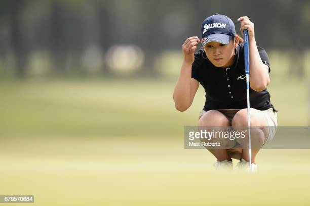 Miyu Shinkai of Japan prepares to putt on the 2nd green during the third round of the World Ladies Championship Salonpas Cup at the Ibaraki Golf Club...