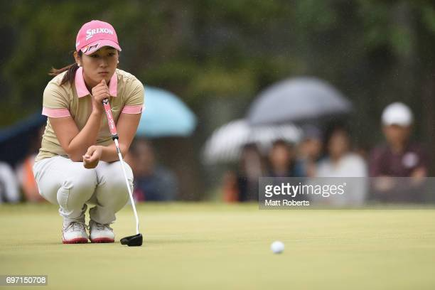Miyu Shinkai of Japan prepares to putt on the 9th green during the final round of the Nichirei Ladies at the on June 18 2017 in Chiba Japan