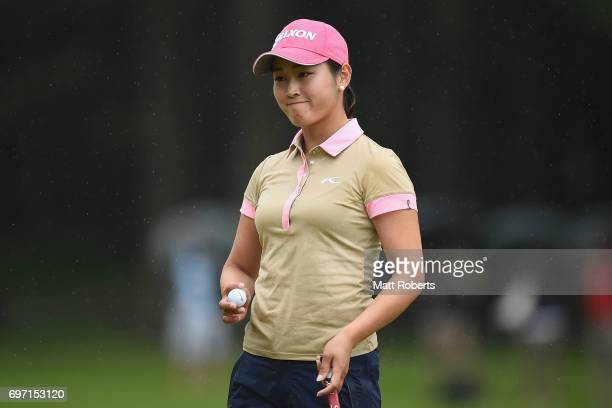Miyu Shinkai of Japan reacts after her putt on the 18th green during the final round of the Nichirei Ladies at the on June 18 2017 in Chiba Japan