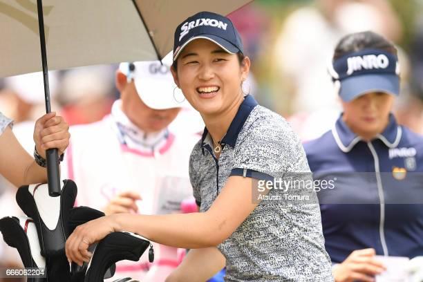 Miyu Shinkai of Japan smiles during the second round of the Studio Alice Open at the Hanayashiki Golf Club Yokawa Course on April 8 2017 in Miki Japan