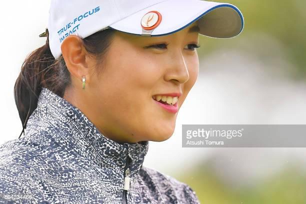 Miyu Shinkai of Japan smiles during the third round of the Nobuta Group Masters GC Ladies at the Masters Golf Club on October 21 2017 in Miki Hyogo...