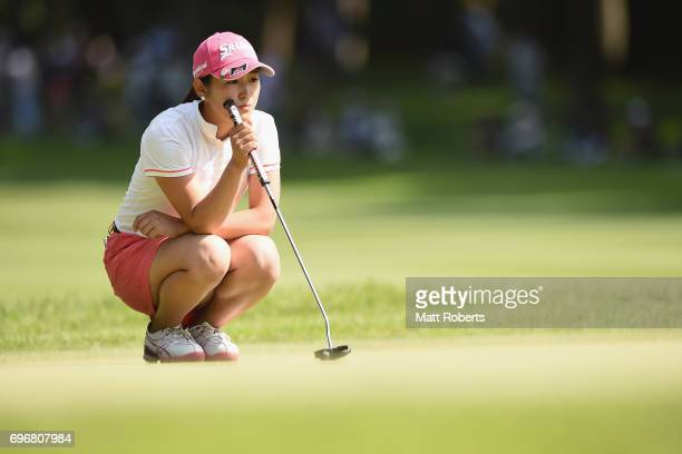 Miyu Shinkai of Japan waits to putt on the 18th green during the second round of the Nichirei Ladies at the on June 17 2017 in Chiba Japan